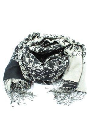 royal changra Kaschmirschal weiß-schwarz Allover-Druck Casual-Look