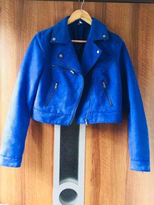 Royalblaue kurze Bikerjacke Gr. 40