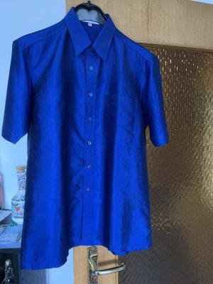 Short Sleeve Shirt blue silk