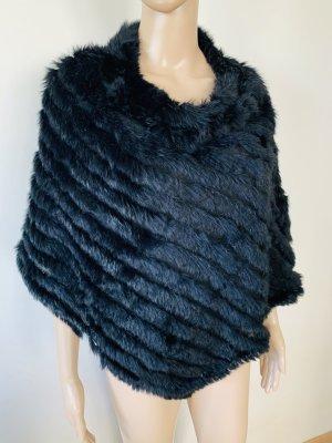 RRP 289€ ,Ogee Fashion Black Rabbit Fur Pancho