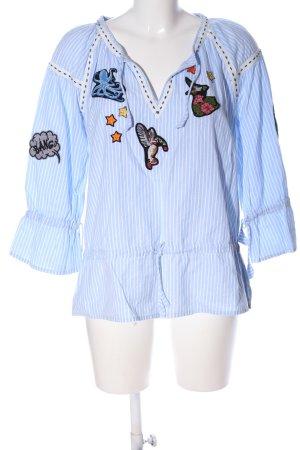 RUBICON Langarm-Bluse blau-weiß Streifenmuster Casual-Look