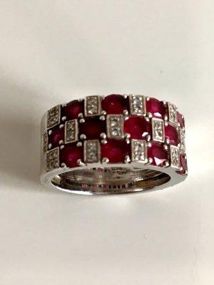 Rubin Diamant 18K 750 Weißgold Ring Bandring edel  gold Diamanten Brillanten Rubine