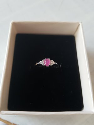 Silver Ring silver-colored-magenta