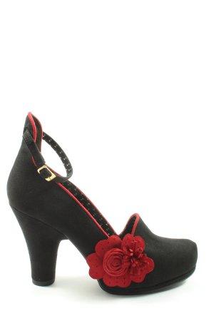 Ruby Shoo Tacones de tiras negro-rojo elegante