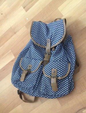 Rucksack blau mit weißen Punkten