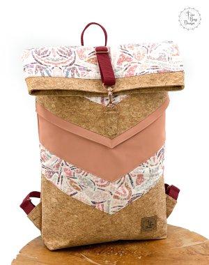 Mochila enrollable rosa-marrón claro