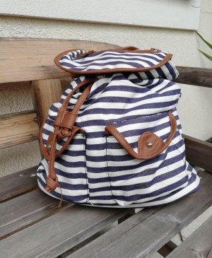 Laptop Backpack dark blue-white