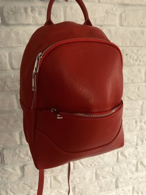 Borse in Pelle Italy Laptop Backpack red leather