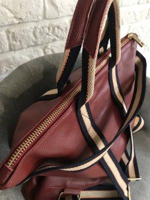Rucksack Lederrucksack Handtasche  2 in 1 bordo  neu