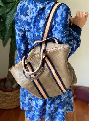Rucksack Lederrucksack Handtasche 2 in 1 in taupe Leder neu