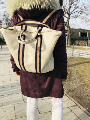 Rucksack Lederrucksack Handtasche Ledertasche 2 in 1 Beige