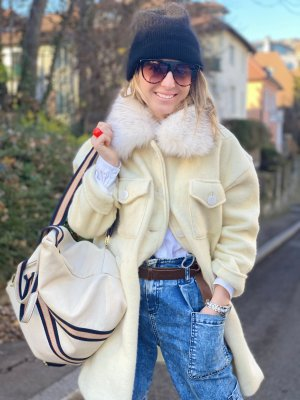 Borse in Pelle Italy Mochila para portátiles beige claro Cuero