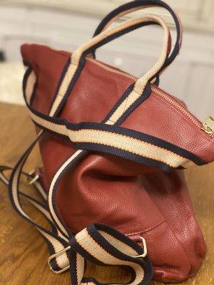 Börse in Pelle Laptop Backpack dark red leather