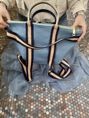 Börse in Pelle Laptop Backpack cornflower blue leather