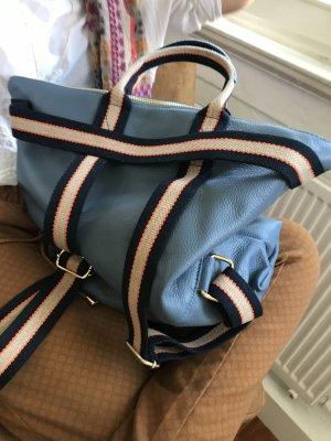 Rucksack Lederrucksack Handtasche Ledertasche 2 in 1 Jeansblau