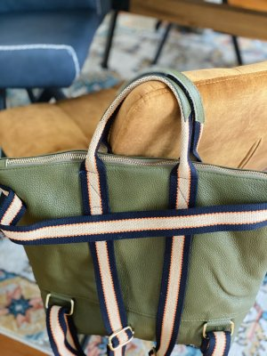 Rucksack Lederrucksack Handtasche Ledertasche 2 in 1 olive