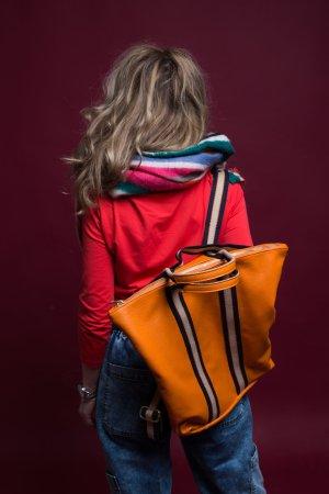 Borse in Pelle Italy Zaino laptop arancione Pelle