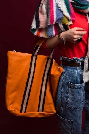 Rucksack Lederrucksack Handtasche Ledertasche 2 in 1 orange