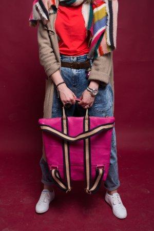 Rucksack Lederrucksack Handtasche Ledertasche 2 in 1 pink neu