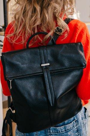 Rucksack Lederrucksack Handtasche Ledertasche edel schlicht minimalistisch Schwarz neu