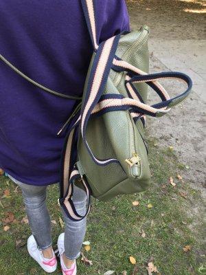 Borse in Pelle Italy Laptop rugzak olijfgroen Leer