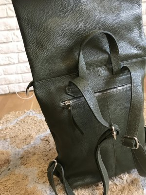 Rucksack Lederrucksack olive Leder edel schlicht neu