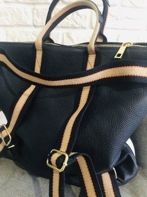 Rucksack Lederrucksack Tasche Handtasche blau neu 2 in 1