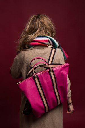 Rucksack Lederrucksack Tasche Handtasche fuchsia neu 2 in 1