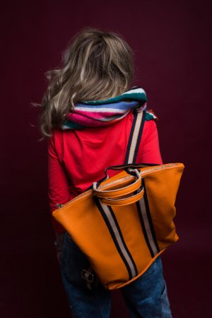 Borse in Pelle Italy Laptop Backpack neon orange leather