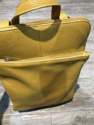 Borse in Pelle Italy Laptop Backpack dark yellow leather