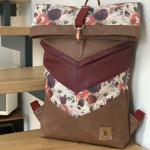 Rucksack mit Rolltop  Backpack Blumen Uni Arbeit Schule Unikat