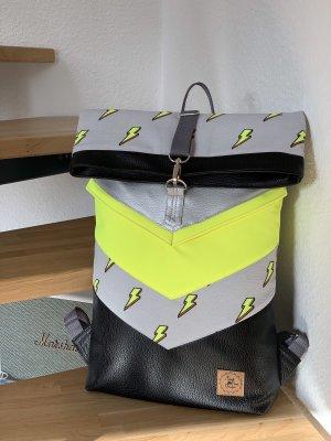 Rucksack Rolltop Backpack Neon Uni Arbeit Schule Wickelrucksack Unikat