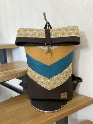 Rucksack Rolltop Backpack Senfgelb Unikat