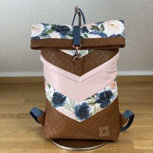Rucksack Rolltop Backpack Uni Arbeit Schule Braun Rosa Blumen Unikat