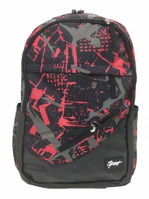 School Backpack black-red polyester