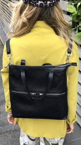 Borse in Pelle Italy Laptop Backpack black leather