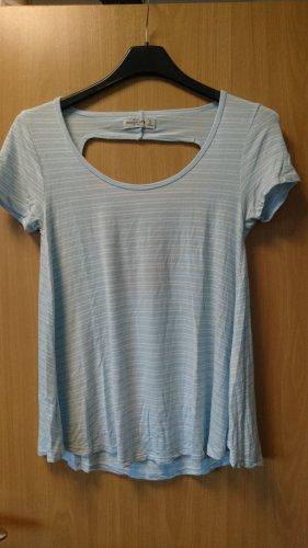 Abercrombie & Fitch Gestreept shirt wit-azuur Gemengd weefsel