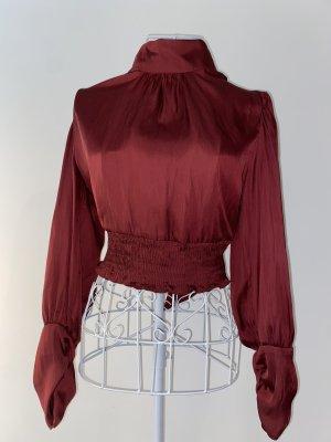 Zara Basic Blusa sin espalda burdeos-carmín