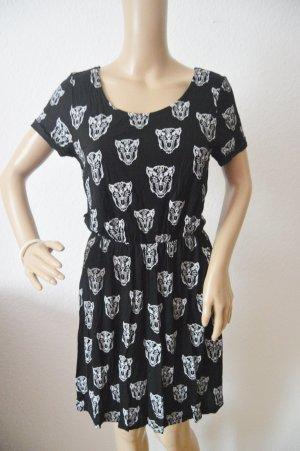 H&M Divided A-lijn jurk wit-zwart