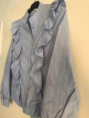 kilky Blouse à volants bleu azur coton