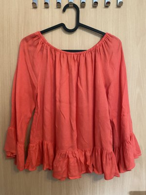 H&M Ruffled Blouse bright red