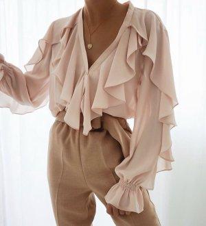 Zara Ruche blouse rosé-stoffig roze