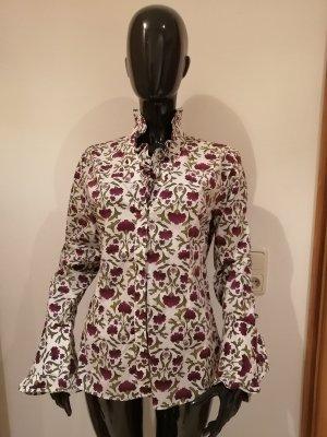 Kleidermanufaktur Habsburg Ruche blouse bruin-paars-groen