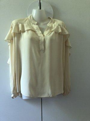 ARKET Bluzka z falbankami w kolorze białej wełny-kremowy
