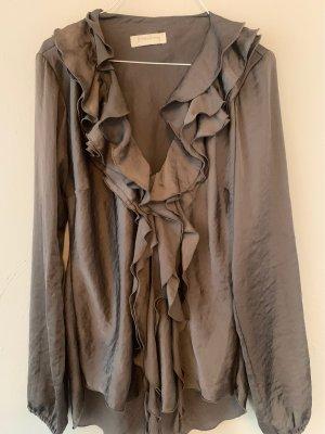 Bluzka z falbankami taupe
