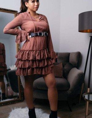 Boutique Comtesse Sukienka z falbanami głęboka czerwień