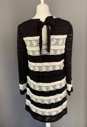 Twin set Longsleeve Dress black-natural white nylon