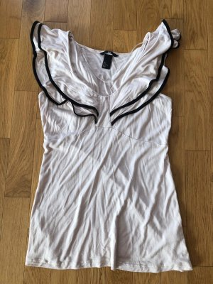 H&M Camisa tipo Carmen blanco puro-negro Algodón