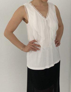 Vila Clothes Top z falbankami w kolorze białej wełny