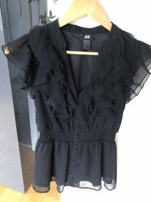 H&M Top z falbankami czarny Poliester